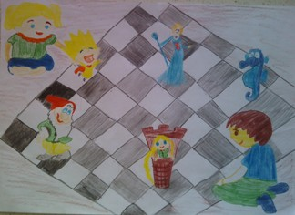 konkurs plastyczny, bajkowy świat szachów, miesięcznik mat, edukacja przez szachy w szkole, polski związek szachowy, rysunek, praca plastyczna, kurs interaktywny szachydzieciom.pl, bierki szachowe, szachownica, partia szachowa,