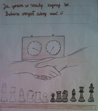 konkurs plastyczny, bajkowy świat szachów, miesięcznik mat, edukacja przez szachy w szkole, polski związek szachowy, rysunek, praca plastyczna, kurs interaktywny szachydzieciom.pl, bierki szachowe, szachownica, król, wieża, hetman, pionek, skoczek, goniec, zegar szachowy, uścisk dłoni, podanie ręki, wierszyk, umysł,