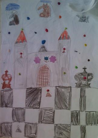 konkurs plastyczny, bajkowy świat szachów, miesięcznik mat, edukacja przez szachy w szkole, polski związek szachowy, rysunek, praca plastyczna, kurs interaktywny szachydzieciom.pl, dwie wieże, bierki szachowe, szachownica, twierdza, zamek, dwa króle, kwiatek, niebo, gwiazdy,