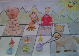konkurs plastyczny, bajkowy świat szachów, miesięcznik mat, edukacja przez szachy w szkole, polski związek szachowy, rysunek, praca plastyczna, kurs interaktywny szachydzieciom.pl, szachownica, bierki szachowe, pionki, skoczek, wieża, hetman, król, uśmiechnięte słoneczko, górki,