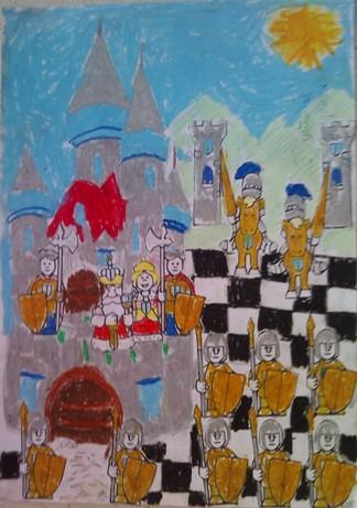 konkurs plastyczny, bajkowy świat szachów, miesięcznik mat, edukacja przez szachy w szkole, polski związek szachowy, rysunek, praca plastyczna, kurs interaktywny szachydzieciom.pl, bierki szachowe, szachownica, zamek, słoneczko,