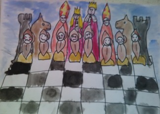 konkurs plastyczny, bajkowy świat szachów, miesięcznik mat, edukacja przez szachy w szkole, polski związek szachowy, rysunek, praca plastyczna, kurs interaktywny szachydzieciom.pl, bierki szachowe, szachowa armia,