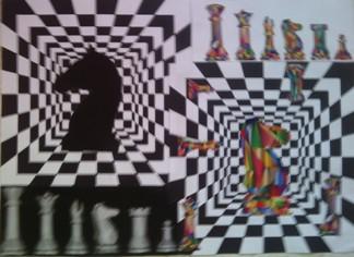 konkurs plastyczny, bajkowy świat szachów, miesięcznik mat, edukacja przez szachy w szkole, polski związek szachowy, rysunek, praca plastyczna, kurs interaktywny szachydzieciom.pl, dwa skoczki, bierki szachowe, szachownice,