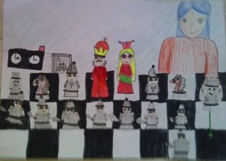 konkurs plastyczny, bajkowy świat szachów, miesięcznik mat, edukacja przez szachy w szkole, polski związek szachowy, rysunek, praca plastyczna, kurs interaktywny szachydzieciom.pl, szachownica, zegar szachowy, bierki szachowe, partia szachowa, dziewczynka przesuwa wieżę, biała armia, królewskie wojsko,