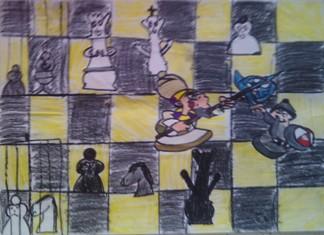 konkurs plastyczny, bajkowy świat szachów, miesięcznik mat, edukacja przez szachy w szkole, polski związek szachowy, rysunek, praca plastyczna, kurs interaktywny szachydzieciom.pl, szachownica, bierki szachowe, królewskie wojsko,