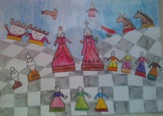 konkurs plastyczny, bajkowy świat szachów, miesięcznik mat, edukacja przez szachy w szkole, polski związek szachowy, rysunek, praca plastyczna, kurs interaktywny szachydzieciom.pl, szachownica, bierki szachowe, wystrzał,