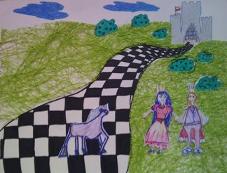 konkurs plastyczny, bajkowy świat szachów, miesięcznik mat, edukacja przez szachy w szkole, polski związek szachowy, rysunek, praca plastyczna, kurs interaktywny szachydzieciom.pl, szachownica, bierki szachowe, zamek, chorągiew, chmury, droga, łąka, trawnik,