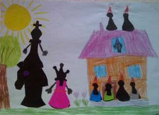 konkurs plastyczny, bajkowy świat szachów, miesięcznik mat, edukacja przez szachy w szkole, polski związek szachowy, rysunek, praca plastyczna, kurs interaktywny szachydzieciom.pl, szachownica, bierki szachowe, słonko, drzewo, domek, kwiatki,