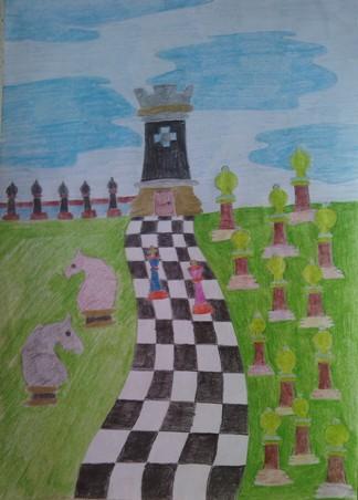 konkurs plastyczny, bajkowy świat szachów, miesięcznik mat, edukacja przez szachy w szkole, polski związek szachowy, rysunek, praca plastyczna, kurs interaktywny szachydzieciom.pl, szachownica, bierki szachowe, chmury, droga, łąka, trawnik,