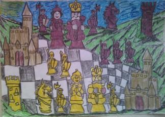 konkurs plastyczny, bajkowy świat szachów, miesięcznik mat, edukacja przez szachy w szkole, polski związek szachowy, rysunek, praca plastyczna, kurs interaktywny szachydzieciom.pl, bierki szachowe, szachownica, zamki, wzgórza,