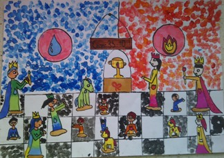 konkurs plastyczny, bajkowy świat szachów, miesięcznik mat, edukacja przez szachy w szkole, polski związek szachowy, rysunek, praca plastyczna, kurs interaktywny szachydzieciom.pl, szachownica, bierki szachowe, puchar, ogień, woda, kropla, płomień,