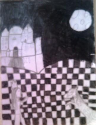 konkurs plastyczny, bajkowy świat szachów, miesięcznik mat, edukacja przez szachy w szkole, polski związek szachowy, rysunek, praca plastyczna, kurs interaktywny szachydzieciom.pl, skoczek, koń, księżyc, zamek, noc,