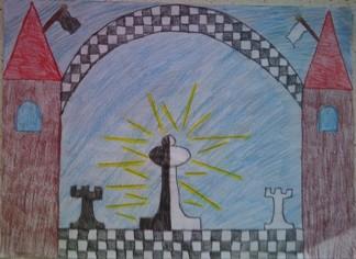 konkurs plastyczny, bajkowy świat szachów, miesięcznik mat, edukacja przez szachy w szkole, polski związek szachowy, rysunek, praca plastyczna, kurs interaktywny szachydzieciom.pl, dwie wieże, bierki szachowe białe i czarne, chorągwie,