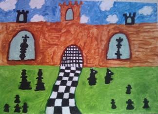 konkurs plastyczny, bajkowy świat szachów, miesięcznik mat, edukacja przez szachy w szkole, polski związek szachowy, rysunek, praca plastyczna, kurs interaktywny szachydzieciom.pl, bierki szachowe, szachownica, zamek, chmurki,