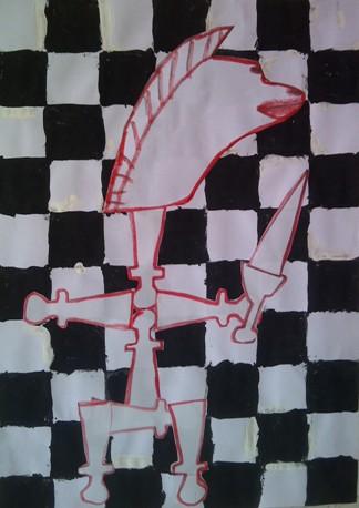 konkurs plastyczny, bajkowy świat szachów, miesięcznik mat, edukacja przez szachy w szkole, polski związek szachowy, rysunek, praca plastyczna, kurs interaktywny szachydzieciom.pl, szachownica, skoczek, rycerz, miecz, pionki,