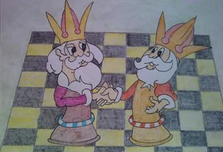konkurs plastyczny, bajkowy świat szachów, miesięcznik mat, edukacja przez szachy w szkole, polski związek szachowy, rysunek, praca plastyczna, kurs interaktywny szachydzieciom.pl, szachownica, bierki szachowe, dwa króle, zgoda na remis, podanie dłoni, samotne króle,