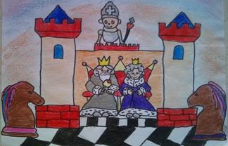konkurs plastyczny, bajkowy świat szachów, miesięcznik mat, edukacja przez szachy w szkole, polski związek szachowy, rysunek, praca plastyczna, kurs interaktywny szachydzieciom.pl, dwie wieże, szachownica, para królewska, dwa skoczki, goniec, tron,