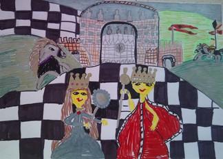 konkurs plastyczny, bajkowy świat szachów, miesięcznik mat, edukacja przez szachy w szkole, polski związek szachowy, rysunek, praca plastyczna, kurs interaktywny szachydzieciom.pl, szachownica, bierki szachowe, zamek, wzgórza, chorągwie, królewska para,