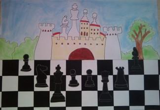 konkurs plastyczny, bajkowy świat szachów, miesięcznik mat, edukacja przez szachy w szkole, polski związek szachowy, rysunek, praca plastyczna, kurs interaktywny szachydzieciom.pl, szachownica, bierki szachowe, zamek, oblężenie, drzewo,