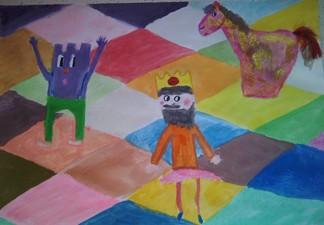 konkurs plastyczny, bajkowy świat szachów, miesięcznik mat, edukacja przez szachy w szkole, polski związek szachowy, rysunek, praca plastyczna, kurs interaktywny szachydzieciom.pl, szachownica, król, wieża, skoczek,