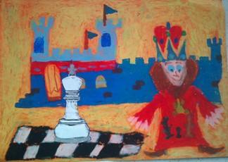 konkurs plastyczny, bajkowy świat szachów, miesięcznik mat, edukacja przez szachy w szkole, polski związek szachowy, rysunek, praca plastyczna, kurs interaktywny szachydzieciom.pl, bierki szachowe, szachownica, zamek, król, chorągwie,