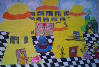 konkurs plastyczny, bajkowy świat szachów, miesięcznik mat, edukacja przez szachy w szkole, polski związek szachowy, rysunek, praca plastyczna, kurs interaktywny szachydzieciom.pl, bierki szachowe, szachownica, fontanna, chmurki, wózek, balkon,
