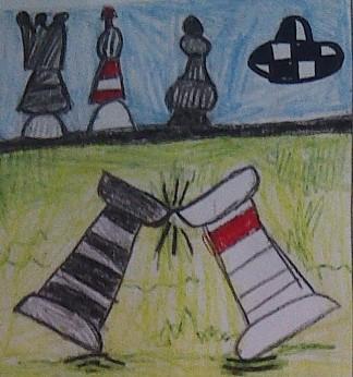 konkurs plastyczny, bajkowy świat szachów, miesięcznik mat, edukacja przez szachy w szkole, polski związek szachowy, rysunek, praca plastyczna, kurs interaktywny szachydzieciom.pl, dwie wieże, bierki szachowe, walka, pojedynek, biała i czarna wieża, król, hetman, królowa, goniec, szachownicowe ufo,