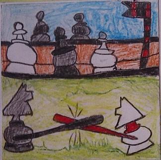konkurs plastyczny, bajkowy świat szachów, miesięcznik mat, edukacja przez szachy w szkole, polski związek szachowy, rysunek, praca plastyczna, kurs interaktywny szachydzieciom.pl, bierki szachowe, dwa skoczki, walka skoczków, pionki,