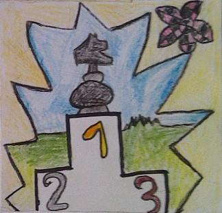 konkurs plastyczny, bajkowy świat szachów, miesięcznik mat, edukacja przez szachy w szkole, polski związek szachowy, rysunek, praca plastyczna, kurs interaktywny szachydzieciom.pl, turniej rycerski w krainie szachów, skoczek, podium,