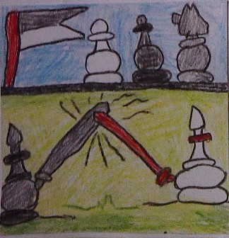 konkurs plastyczny, bajkowy świat szachów, miesięcznik mat, edukacja przez szachy w szkole, polski związek szachowy, rysunek, praca plastyczna, kurs interaktywny szachydzieciom.pl, turniej rycerski w krainie szachów, dwa gońce, walka gońców, skoczek, pionki, chorągiew, miecze,