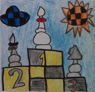 konkurs plastyczny, bajkowy świat szachów, miesięcznik mat, edukacja przez szachy w szkole, polski związek szachowy, rysunek, praca plastyczna, kurs interaktywny szachydzieciom.pl, turniej rycerski w krainie szachów, goniec, lekkie figury, zwycięstwo gońca, dwa gońce, skoczek, podium, szachowe słonko, szachowa chmurka,