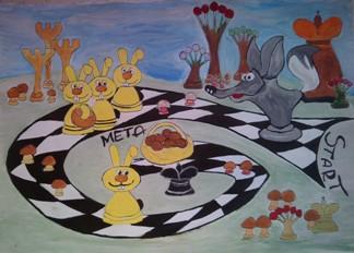 konkurs plastyczny, bajkowy świat szachów, miesięcznik mat, edukacja przez szachy w szkole, polski związek szachowy, rysunek, praca plastyczna, kurs interaktywny szachydzieciom.pl, bierki szachowe, szachownica, grzybki, zajączki,