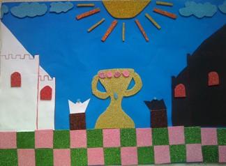 konkurs plastyczny, bajkowy świat szachów, miesięcznik mat, edukacja przez szachy w szkole, polski związek szachowy, rysunek, praca plastyczna, kurs interaktywny szachydzieciom.pl, króle, puchar, zamki, słonko, chmurki, szachownica,
