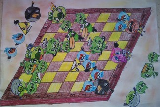konkurs plastyczny, bajkowy świat szachów, miesięcznik mat, edukacja przez szachy w szkole, polski związek szachowy, rysunek, praca plastyczna, kurs interaktywny szachydzieciom.pl, bierki szachowe, szachownica, ptaki,