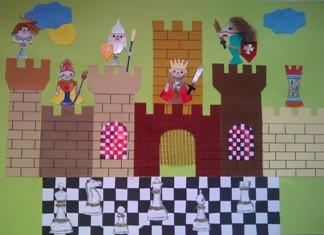 konkurs plastyczny, bajkowy świat szachów, miesięcznik mat, edukacja przez szachy w szkole, polski związek szachowy, rysunek, praca plastyczna, kurs interaktywny szachydzieciom.pl, bierki szachowe, szachownica, zamek, słoneczko, chmurki,