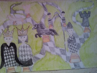 konkurs plastyczny, bajkowy świat szachów, miesięcznik mat, edukacja przez szachy w szkole, polski związek szachowy, rysunek, praca plastyczna, kurs interaktywny szachydzieciom.pl, bierki szachowe, szachownica, drogi,