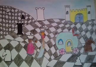 konkurs plastyczny, bajkowy świat szachów, miesięcznik mat, edukacja przez szachy w szkole, polski związek szachowy, rysunek, praca plastyczna, kurs interaktywny szachydzieciom.pl, bierki szachowe, szachownica, zamek, kareta,
