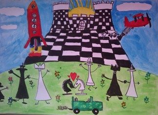 konkurs plastyczny, bajkowy świat szachów, miesięcznik mat, edukacja przez szachy w szkole, polski związek szachowy, rysunek, praca plastyczna, kurs interaktywny szachydzieciom.pl, bierki szachowe, szachownica, zamek, chmurki, rakieta, samolot, auto, słońce, kwiatki, serce,