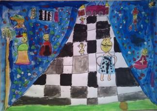 konkurs plastyczny, bajkowy świat szachów, miesięcznik mat, edukacja przez szachy w szkole, polski związek szachowy, rysunek, praca plastyczna, kurs interaktywny szachydzieciom.pl, bierki szachowe, szachownica, zamek, drzewo, uśmiechnięte słoneczko,