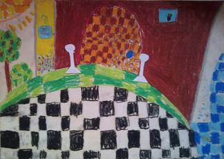 konkurs plastyczny, bajkowy świat szachów, miesięcznik mat, edukacja przez szachy w szkole, polski związek szachowy, rysunek, praca plastyczna, kurs interaktywny szachydzieciom.pl, bierki szachowe, pionki, szachownica, brama, drzewko, słoneczko,