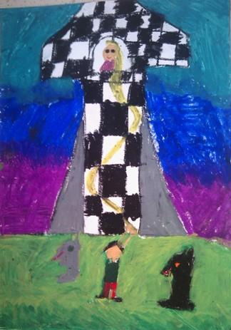 konkurs plastyczny, bajkowy świat szachów, miesięcznik mat, edukacja przez szachy w szkole, polski związek szachowy, rysunek, praca plastyczna, kurs interaktywny szachydzieciom.pl, bierki szachowe, zamek, wieża, szachownica, królewna, warkocz, uwolnienie,