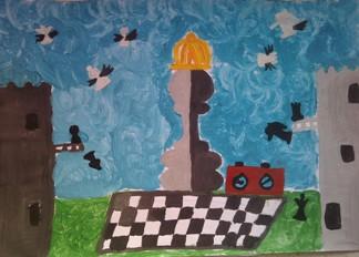 konkurs plastyczny, bajkowy świat szachów, miesięcznik mat, edukacja przez szachy w szkole, polski związek szachowy, rysunek, praca plastyczna, kurs interaktywny szachydzieciom.pl, dwie wieże, latające bierki szachowe, zegar szachowy, szachownica, korona,