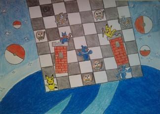 konkurs plastyczny, bajkowy świat szachów, miesięcznik mat, edukacja przez szachy w szkole, polski związek szachowy, rysunek, praca plastyczna, kurs interaktywny szachydzieciom.pl, dwie wieże, szachownica, gwiazdy, pokemony,
