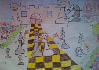 konkurs plastyczny, bajkowy świat szachów, miesięcznik mat, edukacja przez szachy w szkole, polski związek szachowy, rysunek, praca plastyczna, kurs interaktywny szachydzieciom.pl, bierki szachowe, zamek, droga, szachownica, drzewko, kareta,
