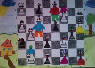 konkurs plastyczny, bajkowy świat szachów, miesięcznik mat, edukacja przez szachy w szkole, polski związek szachowy, rysunek, praca plastyczna, kurs interaktywny szachydzieciom.pl, bierki szachowe, szachownica, domek, słoneczko, chmurka, drzewko,