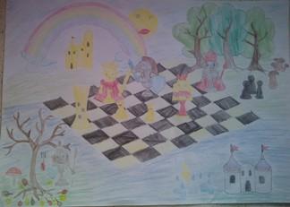 konkurs plastyczny, bajkowy świat szachów, miesięcznik mat, edukacja przez szachy w szkole, polski związek szachowy, rysunek, praca plastyczna, kurs interaktywny szachydzieciom.pl, bierki szachowe, szachownica, tęcza, zamki, drzewa, słoneczko, grzyby,