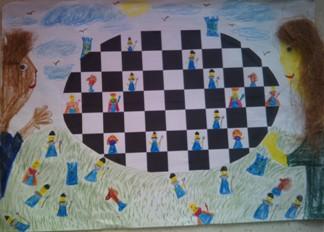 konkurs plastyczny, bajkowy świat szachów, miesięcznik mat, edukacja przez szachy w szkole, polski związek szachowy, rysunek, praca plastyczna, kurs interaktywny szachydzieciom.pl, bierki szachowe, owalna szachownica, ptaki, partia szachowa,