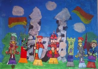 konkurs plastyczny, bajkowy świat szachów, miesięcznik mat, edukacja przez szachy w szkole, polski związek szachowy, rysunek, praca plastyczna, kurs interaktywny szachydzieciom.pl, bierki szachowe, zamek, flagi, chmury,