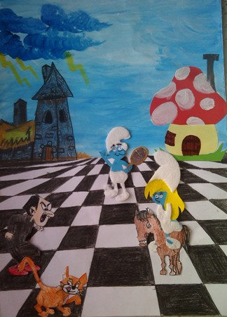 konkurs plastyczny, bajkowy świat szachów, miesięcznik mat, edukacja przez szachy w szkole, polski związek szachowy, rysunek, praca plastyczna, kurs interaktywny szachydzieciom.pl, smerfetka, memoriał mistrza czesława błaszczaka, smerfowe szachy, szachownica, partia szachowa, bierki szachowe, gargamel, klakier, pioruny, dom gargamela, wioska smerfów,