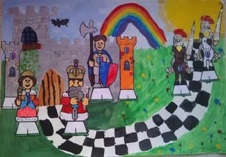 konkurs plastyczny, bajkowy świat szachów, miesięcznik mat, edukacja przez szachy w szkole, polski związek szachowy, rysunek, praca plastyczna, kurs interaktywny szachydzieciom.pl, bierki szachowe, zamek, słoneczko, szachownica, tęcza, droga, łąka,